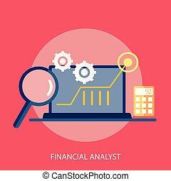 conceptuel, financier, conception, analyste, illustration