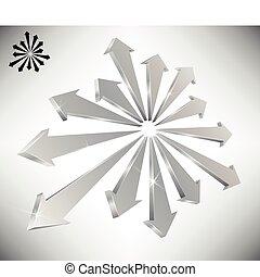 conceptuel, flèches, pointage, 3d