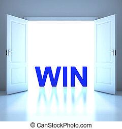 conceptuel, gagner, avenir, mot
