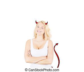 conceptuel, girl, diable, idée