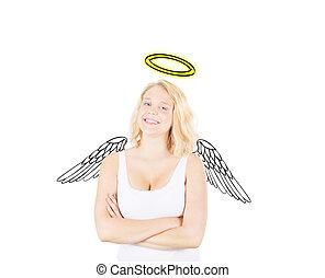 conceptuel, girl, idée, ange