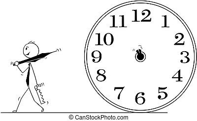 conceptuel, homme affaires, dessin animé, temps