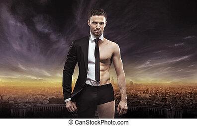 conceptuel, homme affaires, image, beau