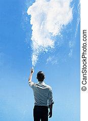 conceptuel, image, homme, nuage, arrosage