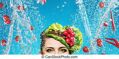 conceptuel, image, légumes, voler