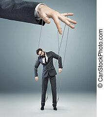 conceptuel, image, tirer ficelles, patron