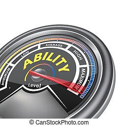 conceptuel, indicateur, vecteur, capacité, mètre