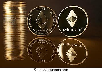 conceptuel, monnaie, image, crypto