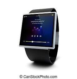 conceptuel, musique, montre, intelligent