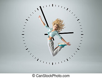 conceptuel, photo, humain, horloge