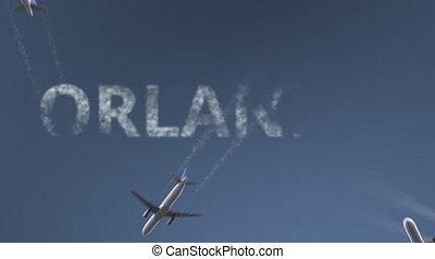 conceptuel, révéler, caption., animation, voler, avions, uni...