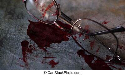 conceptuel, scène, sanguine, lunettes, grungy, crime