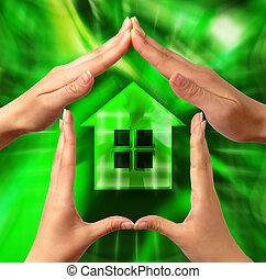conceptuel, symbole, maison