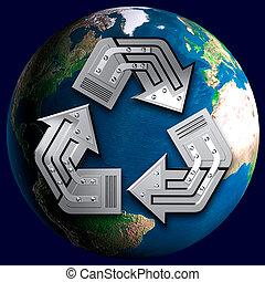 conceptuel, symbole, recyclage