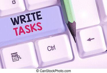 conceptuel, time., texte, main, business, morceau, travail, souvent, écrire, certain, dans, projection, écriture, assigné, fini, être, tasks., photo