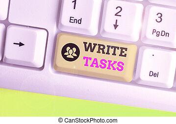 conceptuel, time., texte, signe, morceau, travail, souvent, écrire, dans, certain, projection, assigné, fini, être, tasks., photo