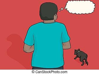 Concerned Black Man and Stray Dog