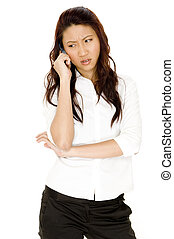 Concerned Phone Call - A pretty young asian businesswoman...