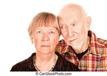 Concerned senior couple - Portrait of concerned senior...