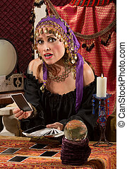 Concerned Tarot Card Lady - Nervous Caucasian female fortune...