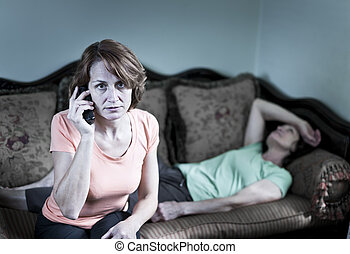 Concerned woman with sick mother
