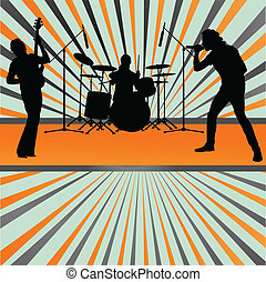 concert, éclater, bande, vecteur, fond, rocher
