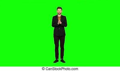 concert, écran, vert, regarde, applaudit, homme, actors.
