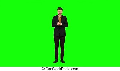 concert, écran, vert, regarde, applaudit, homme affaires, actors.