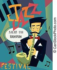 concert., プレーする, illustration., ポスター, ジャズ, ベクトル, saxophone., テンプレート, 人