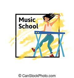 concert., 女, イラスト, ポスター, 音楽家, synthesizer., 隔離された, musician., ∥あるいは∥, バックグラウンド。, ベクトル, 音楽, 女性, keyboardist., 学校, 白, 遊び