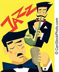 concert., 歌う, 歌手, プレーする, illustration., ポスター, ジャズ, サクソフォーン, ベクトル, 音楽, テンプレート, microphone., 人