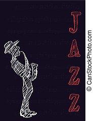 concert., 音楽家, プレーする, 祝祭, ポスター, ジャズ, saxophone., 音楽, ∥あるいは∥