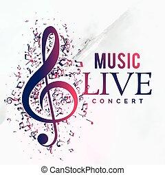 concert, affiche, vivant, aviateur, musique, gabarit, conception