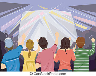 Concert Audience - Back View Illustration Featuring the...