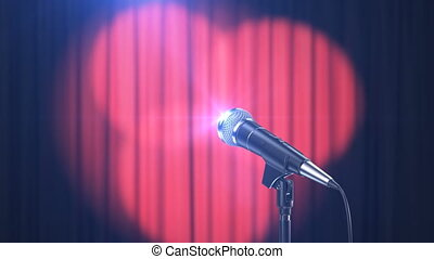 Concert Background, Microphone and Curtains with Rotating...