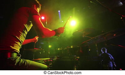 concert, batteur, band., rocher, jouer, étape