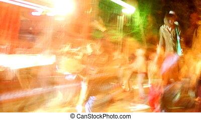 concert, buiten, strepen, menigte, blootgestelde, licht,...