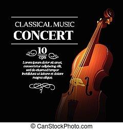 concert., classique, affiche, illustration, vecteur, musique
