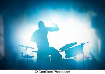 concert,  club, lumières, batteur, musique, tambours, jouer