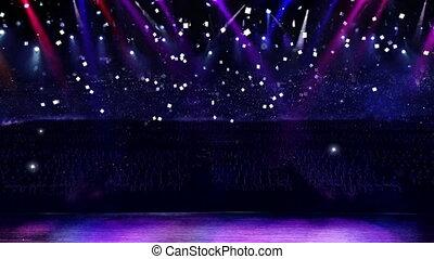 color spotlight in the concert with confetti