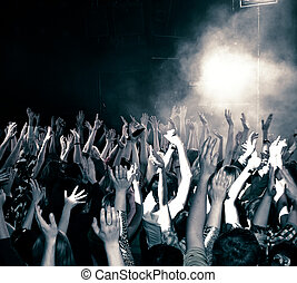 Concert crowd, hands up, toned