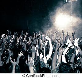 Concert crowd, hands up, toned
