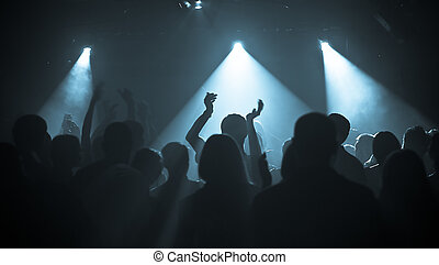 concert crowd - photo of hands at rock concert, silhouettes...