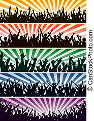 Concert crowds - Set of editable vector concert crowd...
