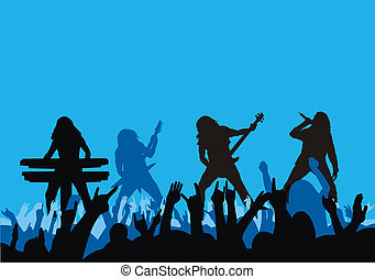 Concert - Illustration of rock musicians silhouette on...