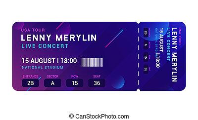 Concert entrance vector ticket templates. Party event elegant flyer design show. Music pass invitation