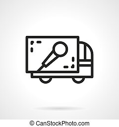 Concert equipment delivery simple line vector icon