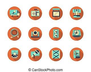 Concert equipment round flat vector icons set