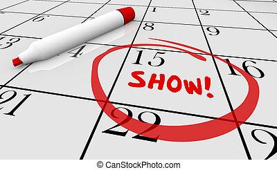concert, exposition, illustration, événement, date, performance, calendrier, jour, 3d
