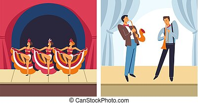 Concert female dancers and male musicians set vector. People...
